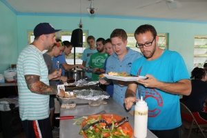 Andy had just been discharged from the hospital but insisted on helping serve dinner for Mission Discovery week 4.