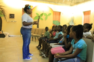 Tika Penn leading one of the classes for the summer day camp kiddos.