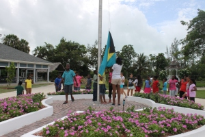 Day camp at the Centre is nearing its last days.  Next week is the last week.  Every morning they raise the Bahamian flag at the Centre.