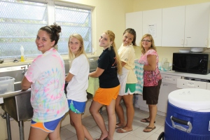 One of Peace Church's dish washing crews.