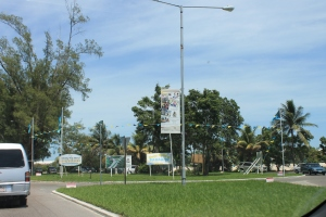 All the round-abouts on the island are decorated with Bahamian flags and signs and banners celebrating Bahamas' 40 years of independence.