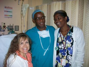 Dr. Nemo (anesthesiologist) and the nurse in the day surgery area of Doctor's hospital.  Don't let this smiling face deceive you, at this point, Mindy was dealing with nausea/vomiting effects of anesthesia.  The anesthesiologist was great, he tried to balance Mindy's desire to be medicated (loopy) as little as possible with enough medication to provided comfort.  Although he could not prevent the nausea and vomiting that plagued Mindy for the rest of the day, he did a great job.