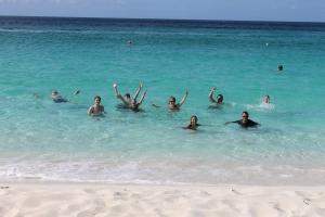 What better way to cool off then a dip in the ocean.  This was the group's first time to Cabbage beach.  Consensus:  best beach on the island.