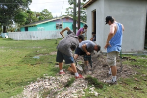 On Monday, Dani and Zeke's team started work projects with the ALC Monday morning.  Some started digging a little to finish getting electrical boxes into the ground.
