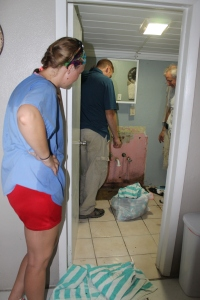 "Change of plans...the water leak has to be found!  Since we moved in in February, we have been having issues with water coming in to the bathroom.  We thought it was the septic over flowing in the ground and coming in through the brick walls or floor.  We also thought maybe there was a disconnected pipe underground somewhere.  We just didn't know.  All we knew is the water was starting to ""poor"" in.  SInce we had another plumber who could help Tim, we decided to use him and his wife to help us solve this problem."