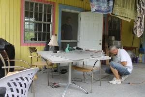 Tim and Zachary are nearly finished with the camp office.  Tim will soon have a place to spread out and do camp business.
