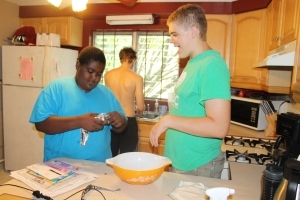 We put the boys to work making cookies.  RJ said he had never made cookies before.