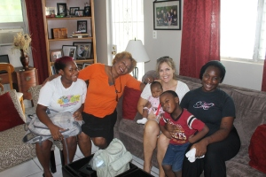 Letitia (on the right) came over to introduce her baby daughter to us.  Letitia used to be a facilitator at the Centre.  We had such a great visit with Letitia and her children and with Tika (a current facilitator) and her mom Gloria.