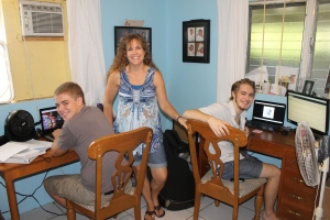 "First official day of homeschool for the boys (actually Logan started two weeks earlier because he is doing classes through Liberty University Online).  First day, in a new room, in a new house, in a new country.  Lots of ""news"" this year.  Pray for us, we are not totally prepared for this year's school year.  Because of the busyness of summer, Mindy was not able to start planning for Zachary's classes until almost too late."