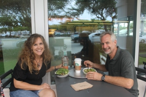 On our must do list:  Chipotle!  Yummy!  (This picture was taken by a lady who encouraged us to allow her to do a psychic reading for us.  We graciously declined.)