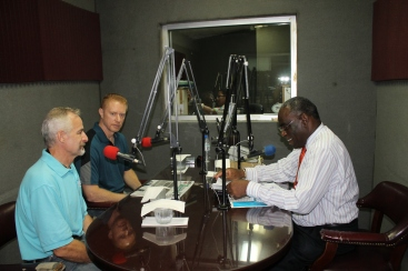 On Friday, Jay Seegert did a radio interview at JCN (a Bahamian radio station).  Tim was able to advertise the Young Adult Weekend as well.