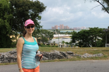 While Jay and Tim spoke on the radio, Mindy took Amy to see downtown Nassau and the Queen's Staircase.