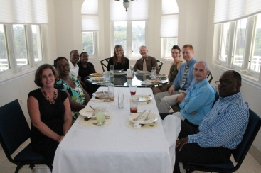 This is the adult table.  From left to right:  Kristin Bunting, Antja Humes, Cedric  and Alexine Moss, us, Amy and Jay Seegert, Keith Bunting, and David Humes.