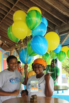 Kim Wallace (left) and Tika Penn helping with decoration.