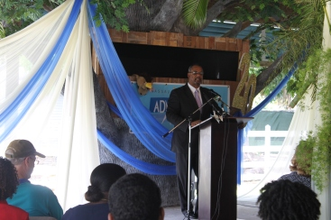 Minister of Education, Jerome FItzgerald, addressed the audience.