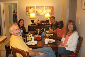 On Monday night we had Jen Rogers and Julian Williams for dinner.