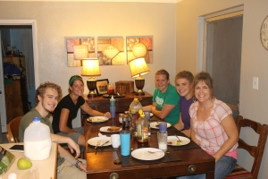 On Tuesday evening, we had Julia Williams and Michelle for dinner—made to order omelets.