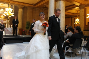 The last cousin to  get married.  Kristy and her husband Brad.  It was a beautiful, traditional wedding held at the Indiana State Capital Buidling---gorgeous!