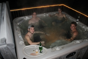 ...dips in Aunt Becky and Uncle Paul's hot tub (yes, it cold weather) with the cousins, ...