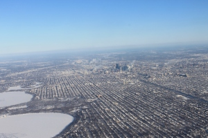 ...leaving snowy Minneapolis, Minnesota behind (you geography buffs, this is looking west)...