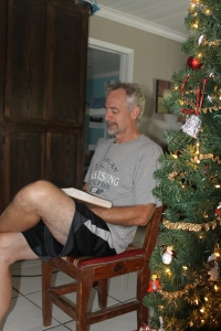 Christmas morning began the traditional way:  reading of the Christmas story before unwrapping presents.  What was not so traditional for us:  doing it in shorts and t-shirts with doors and windows wide open.
