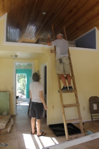 After a restful, quiet weekend home between Christmas and New Years, the week began with work on the girl staff cottage.  Spiral stair case was installed by Tim, Logan...