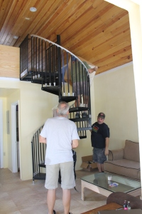 Tom Schafer and Tim Ryan built bookcases for the girl staff cottage to act as storage and privacy barriers.
