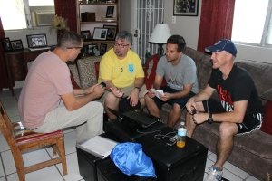 Calvary Chapel's leaders met at our house for a planning meeting after they heard word that one of the flights for their group was cancelled.  It is not easy getting flights for 50 people in a group when their flight is cancelled.
