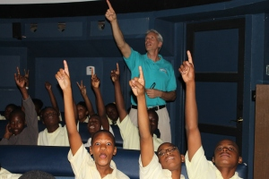 Mark's (Director at the ALCentre) favorite job--teaching the planetarium program.