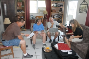 Planning meeting. It used to be just Tim and me discussing menus, shopping, cleaning, schedules, etc for upcoming mission teams coming to ALCamp. We are so thankful to have help with these tasks. Bob and Judi have been such a huge blessing. Their help with the food service and housekeeping here at camp has freed us up to focus more on the management, guest services (which includes hosting guests, connecting with mission teams and Bahamian ministries and pastors/youth workers via phone and email, making arrangements for guests when they are here, logistics, etc), site planning, and marketing of the Camp. There is a lot of work that goes on behind the scenes. We have a group of 36 coming in on Friday from New York. We are looking forward to serving them.