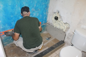 Tim has been working on the camp kitchen apartment shower project.  He is trying to get the shower up and functioning for Bob and Judi.