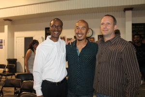 Pastor Cedric Moss of Kingdom Life Church (on left) and Pastor Bryn McPhail of St. Andrews Presbyterian Kirk (on right) were were the planners and organizers of the meetings with Francis Chan.