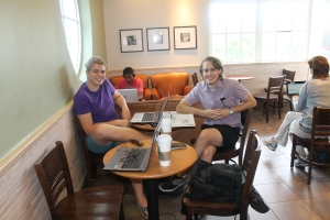 One of the benefits of homeschooling (and necessities if you want to get something done without the distractions or temptation of camp life/work):  school at Starbucks!  There is a Starbucks on the north side of the island that has unlimited free wifi.  We take our school work and go do school there on some Tuesdays.