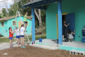 ...painting bathhouse pillars and doors...