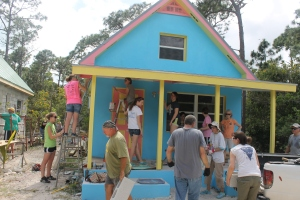 ...finishing the paint job on the girl staff cottage...