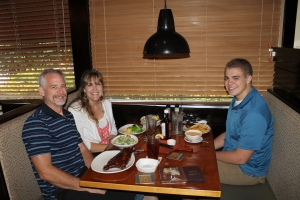 We took Zachary out to Outback Steak House for his birthday.  Taking the boys out to eat for their birthdays is a tradition we have always observed.  This year it was weird being just the three of us.