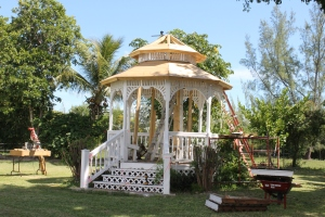 The Amberly Grebe memorial gazebo has been in a state of disrepair for a while.  Bob Balson and Tim Ryan have been making repairs to it.