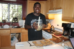 Kevin had never made cookies before.  This is his first attempt.  They were good.