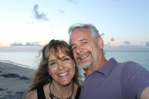 Birthday selfie with my hubby on the beach across from Orange Hill Resort on the upper west side of the island.