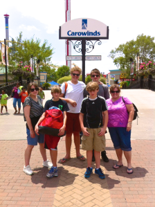 The spoiling and blessing continued.  For week t'wo of Zachary's stay in Charleston, SC, he stayed at my older sister's house.  They took him to an amusement park.  Thank you, John and Tammy!
