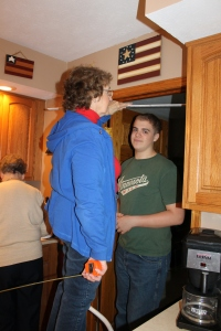 When Zachary was at Grandma's in June, he was almost 6'3.  Grandma wanted to remeasure him.  He is now 6'3.5.  Still taller than anyone else in the family.
