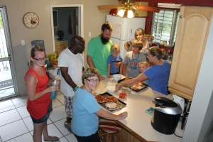 After the Harborview Fellowship team left, their leader Scott Mitchell and his family joined us for make-your-own-pizza night at our house.