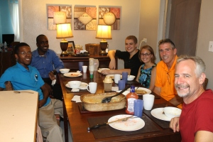 On Sunday we had the College of Bahamas students from our church over for lunch at our house.  Pat and Megan joined us.