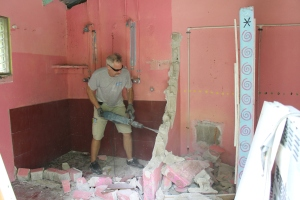 Demo work in the women's side of the old bath house.