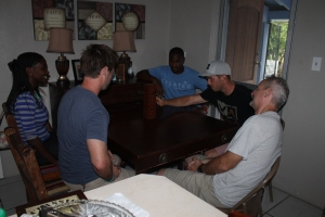 We finally had the opportunity to have Brandon and Huram over for dinner before the crazy summer schedule began.  Eric Nelson (the Centre's program director) and his girlfriend Brittnay also joined us.  While playing Jenga, the power went out.