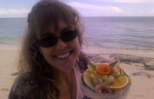 ...and picked up a yummy tropical conch salad to share for a beach lunch picnic.  It was great to get away from camp for a few hours!