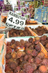These are an interesting fruit we found and got to sample in a store here. It is called Rambutan.  You break them open and eat the fruit off a large pit.  It is very good.  There is a Bahamian fruit similar to these called canips.