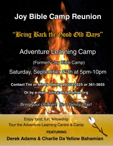 The flyer Zachary designed to have handed out announcing the Joy Bible Camp reunion.