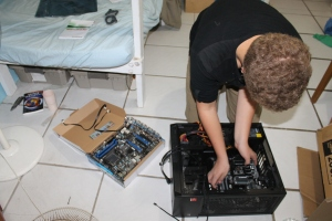 In the last post, we mentioned Zachary's computer he bought in parts and then built himself last winter quit working.  We replaced the motherboard, but that was not the problem.  It is still not working.  We have a new processor coming this week.  Hopefully that will fix the problem.  Please pray!