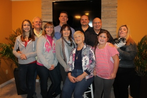 Bob and Faye with three of their sons, their wives, and a couple granddaughters.